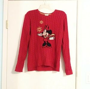 Disney Minnie Mouse Red Knit Winter Sweater